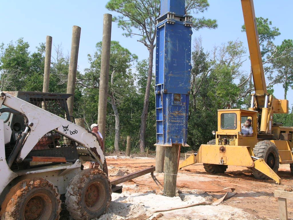 Acorn construction piling foundations for Piling for house foundations