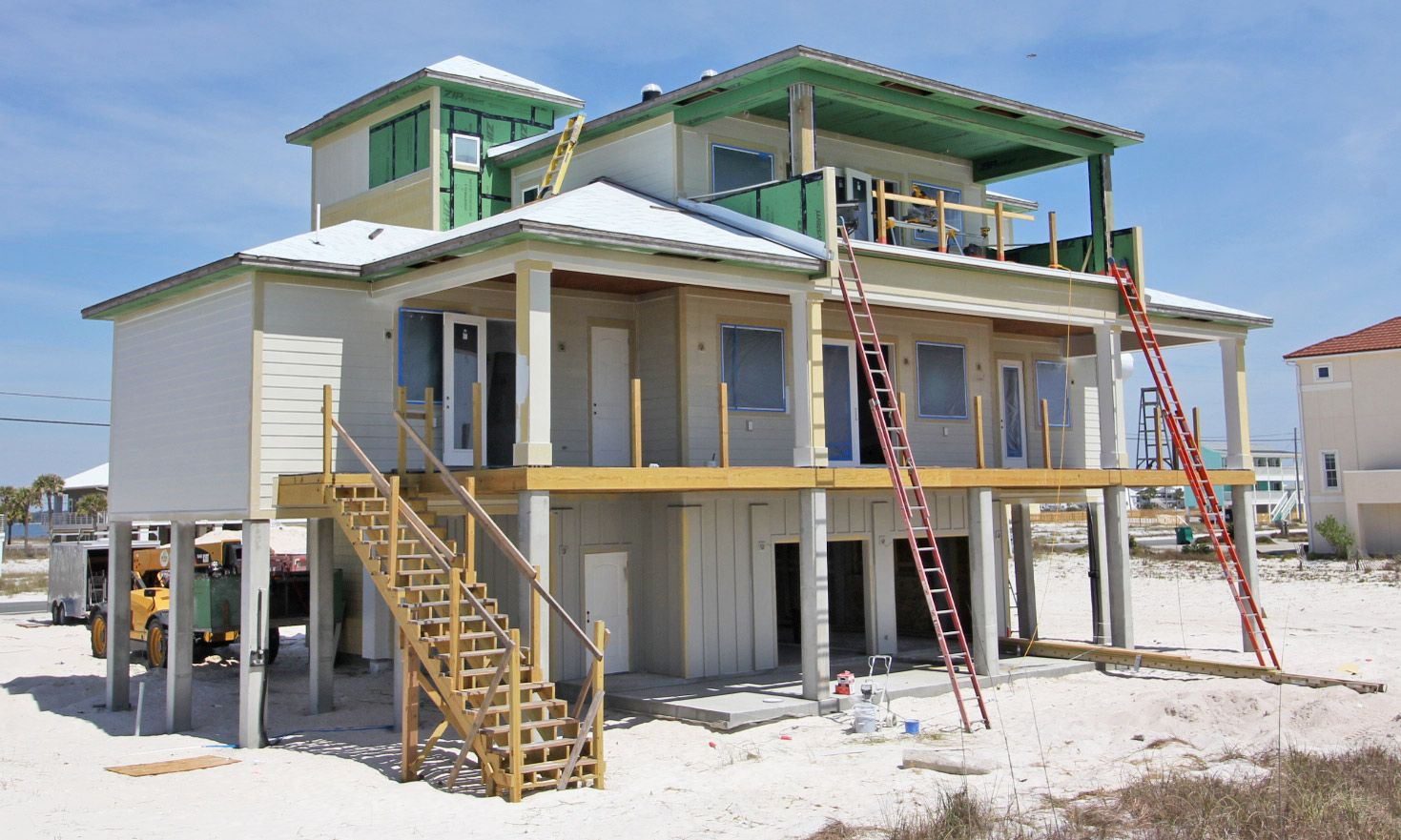 Burchard coastal transitional style piling home on Navarre BeacB