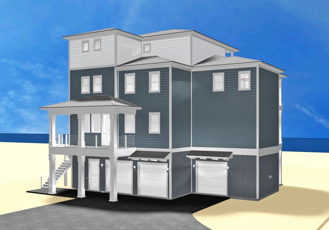 Dubois coastal transitional piling home on Navarre Beach by Acorn Fine Homes