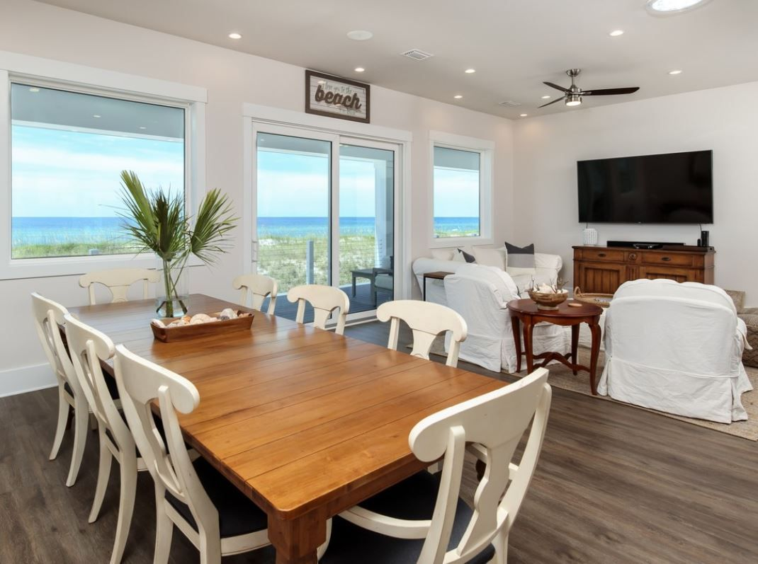Burchard coastal transitional style piling home on Navarre Beach