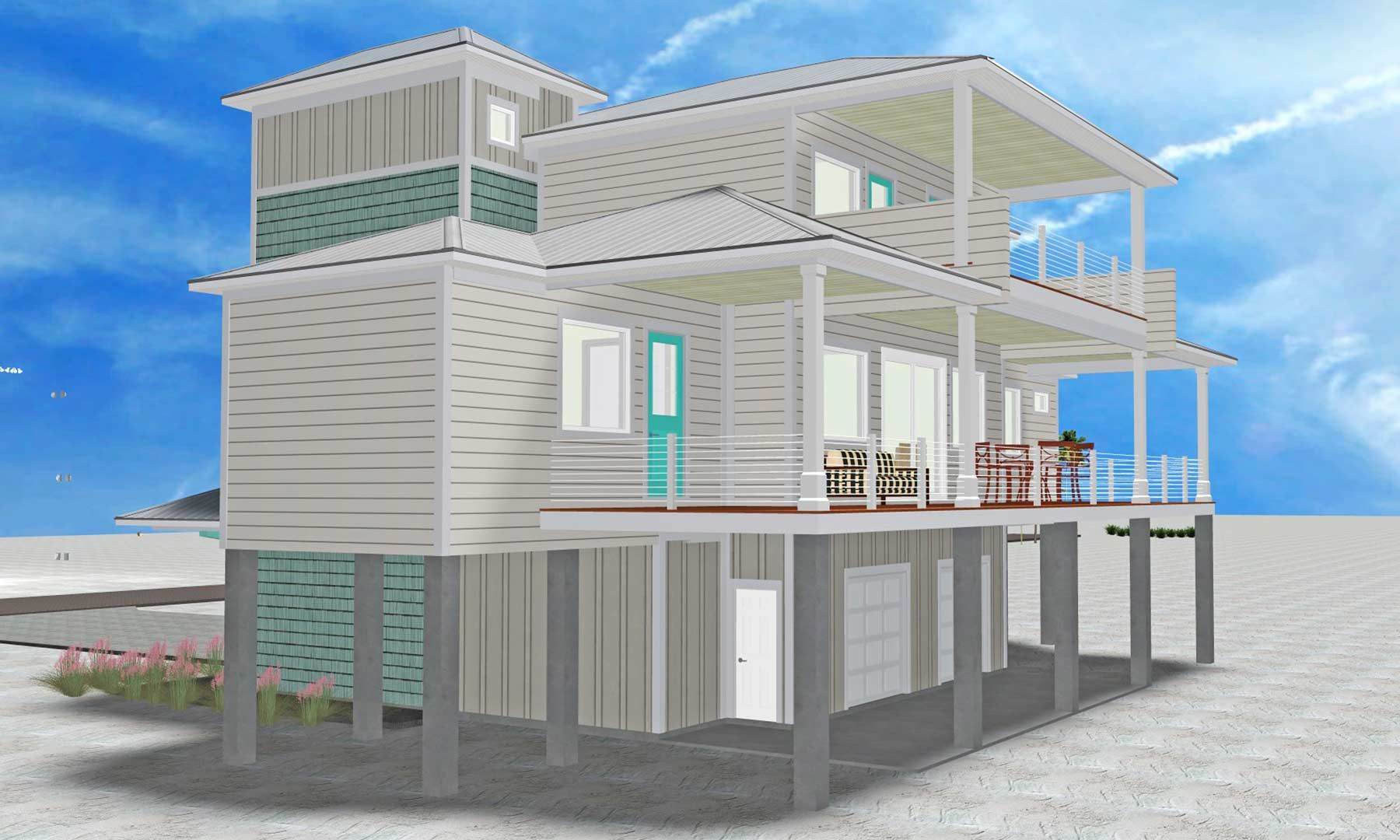 Burchard modern coastal style piling home on Navarre Beach