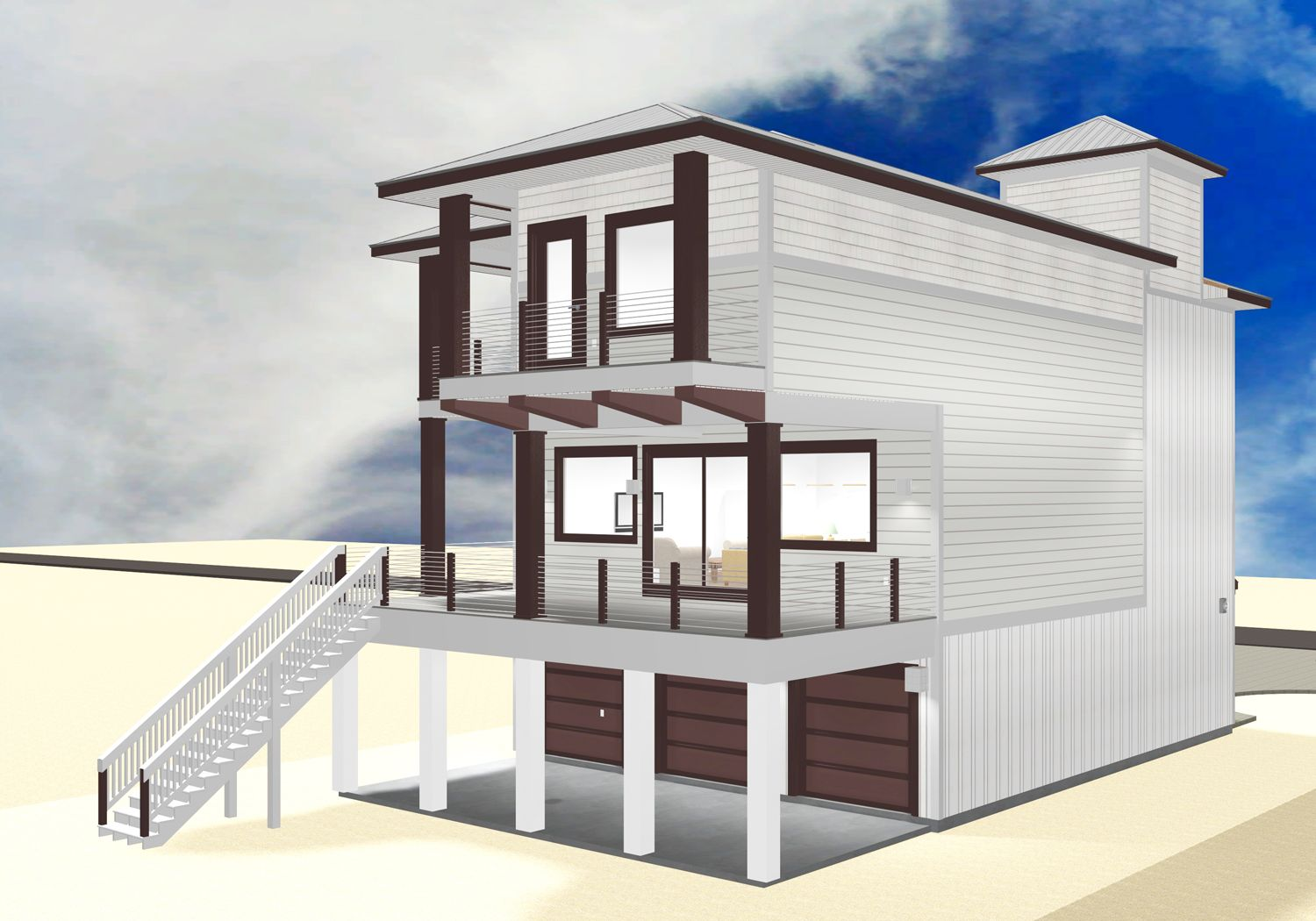Smith coastal modern piling home on Navarre Beach by Acorn Fine Homes